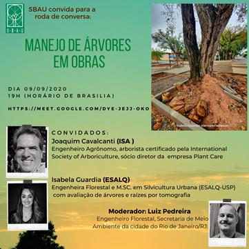 A SBAU CONVIDA PARA RODA DE CONVERSA – MANEJO DE ÁRVORES EM OBRAS DIA 09/09/2020