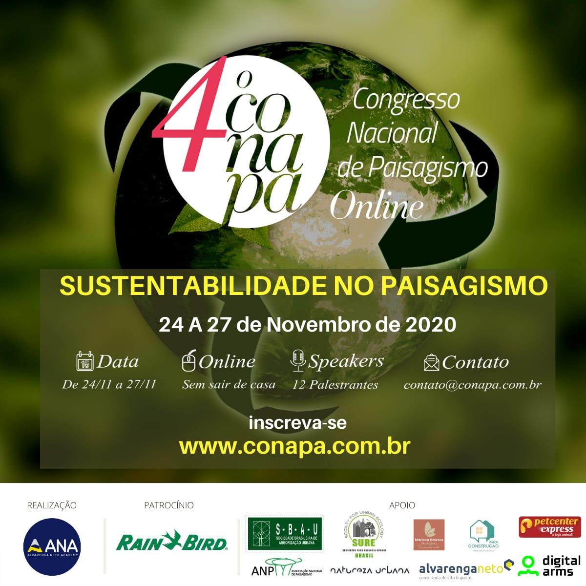 CONAPA 2020 – Abertas as inscrições para a 4ª edição do Congresso Nacional de Paisagismo Online