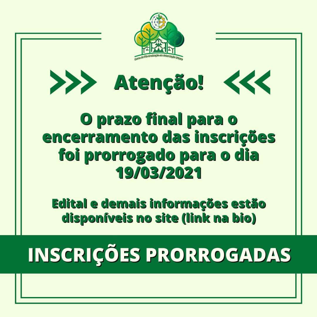 INSCRIÇÕES PRORROGADAS!!!